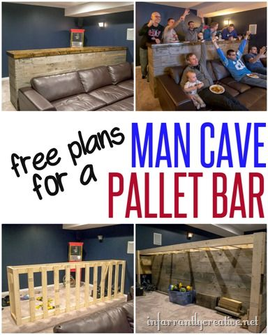 Man Cave Wood Pallet Bar Free DIY Plans Woodworking