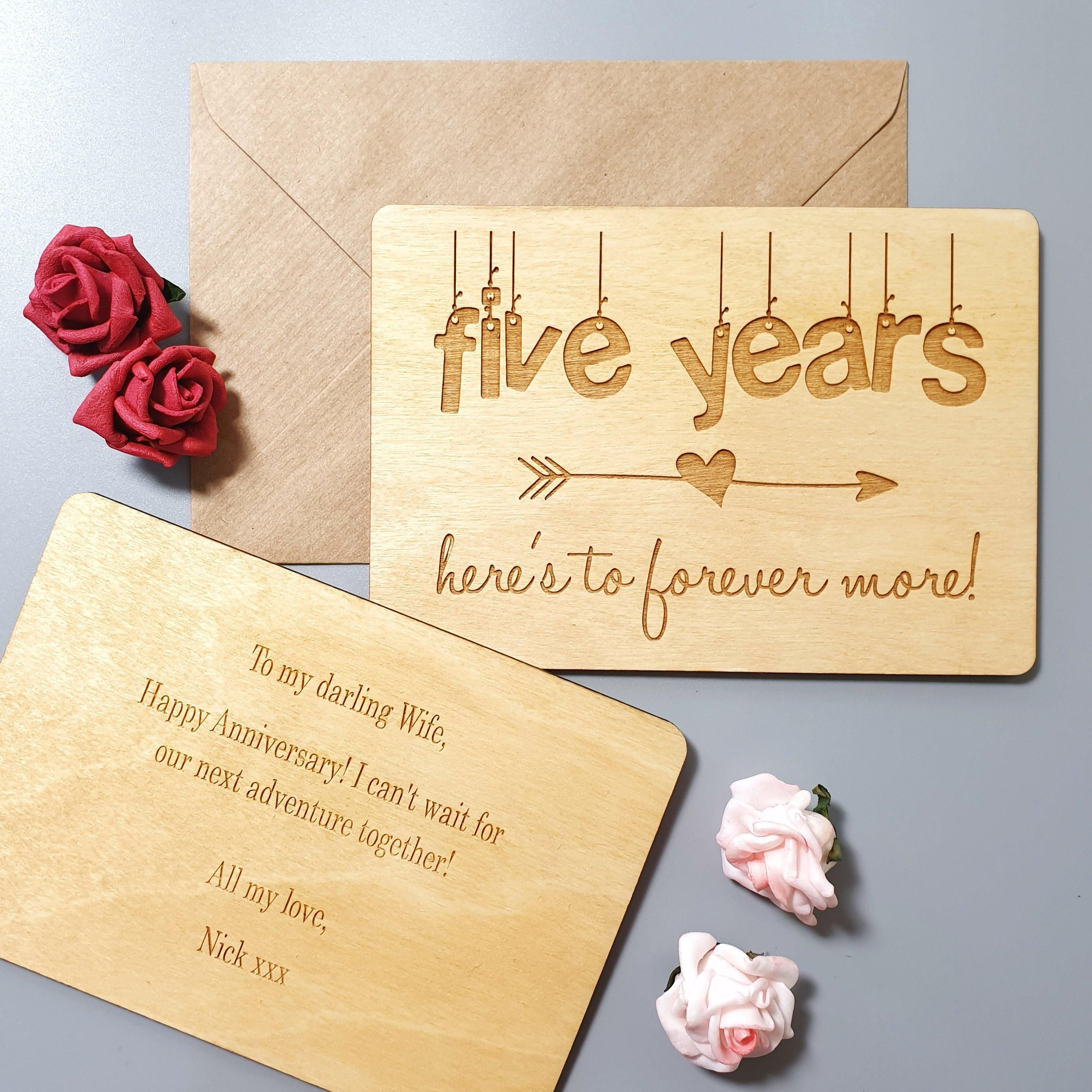 Personalised 5 Year Anniversary Wooden Card I Engraved 5th Wedding Anniversary Gift Wedding Anniversary Cards 5th Wedding Anniversary Gift Wedding Anniversary Presents