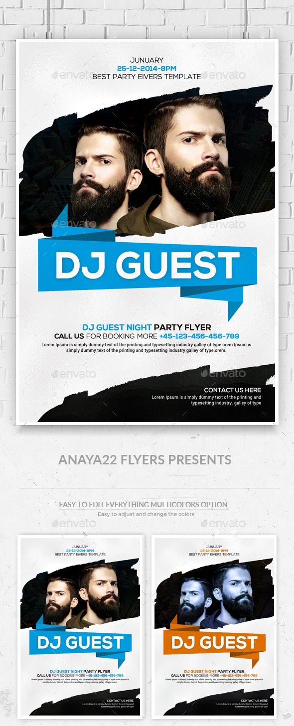 Guest Dj Party Flyer Template PSD #design Download: http://graphicriver.net/item/guest-dj-party-flyer-psd-templates/13493668?ref=ksioks