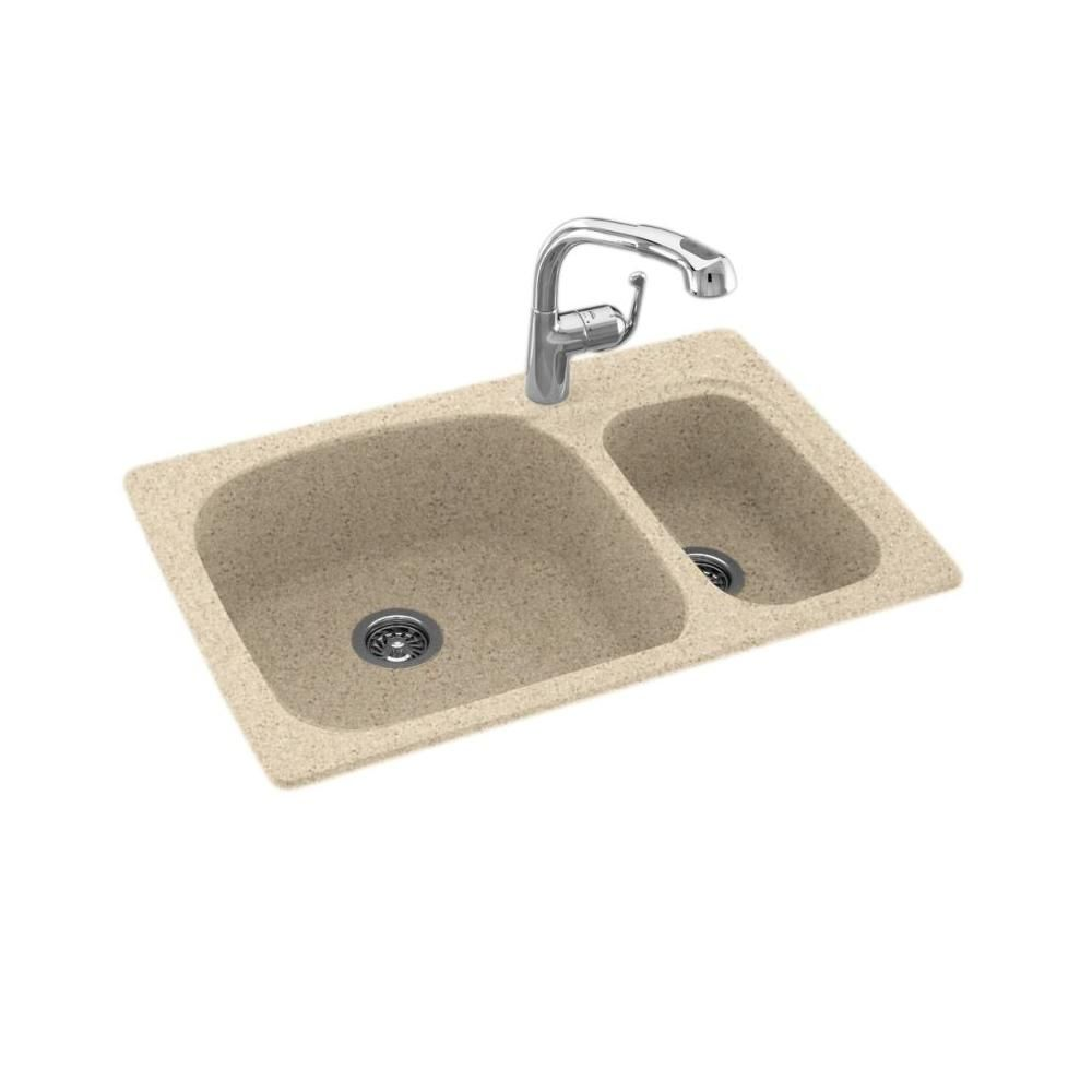 Swan Dual Mount Solid Surface 33 In X 22 In 1 Hole 70 30 Double