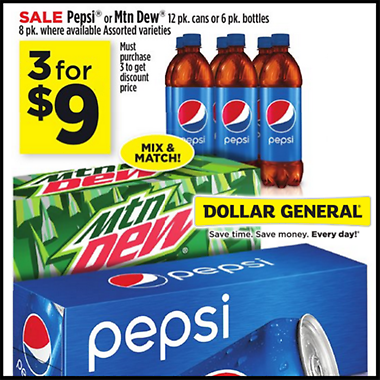 Dollar General 3 For 9 Pepsi Or Mtn Dew 12 Pk Cans Or 6 Pk Bottles Groupon Dollar General Couponing Dollar General Coupons