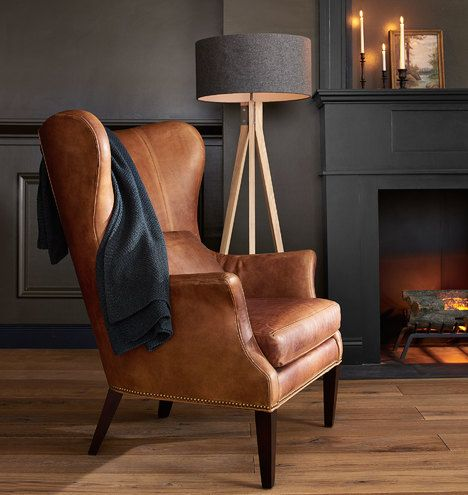 Clinton Modern Wingback Leather Chair with Nailheads