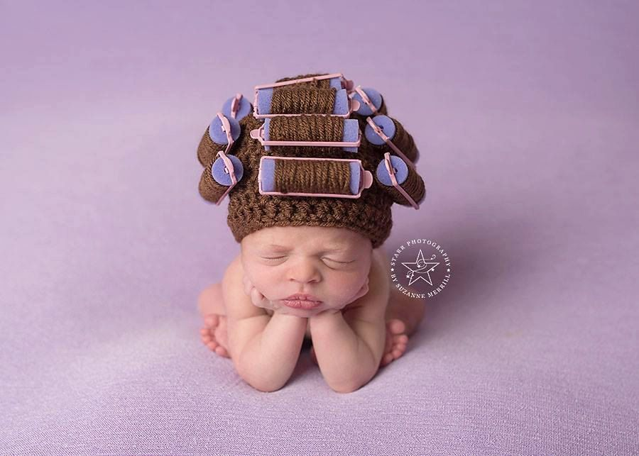 Newborn wig hair curlers hat newborn hat girls cap photography prop