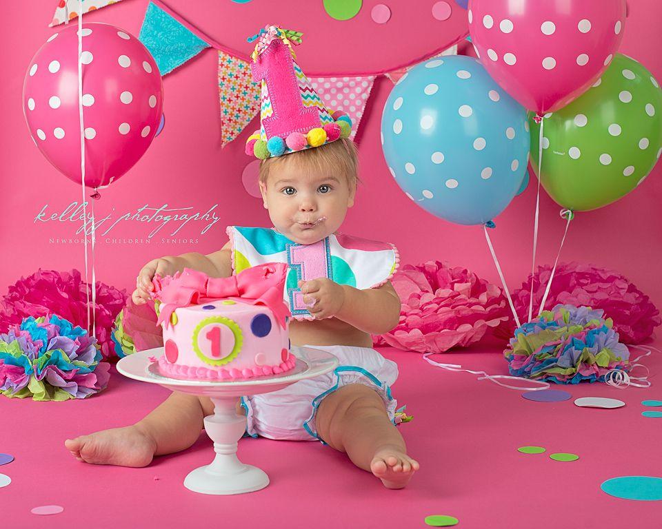 Polka Dot Cake Smash Baby Girl First Birthday Louisville Ky Kelleyjphotography