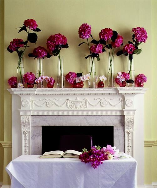 Stairway Decorated With White Tulle And Red Silk Roses: Hot Pink Flowers Decorating A Fireplace Mantle In 2019
