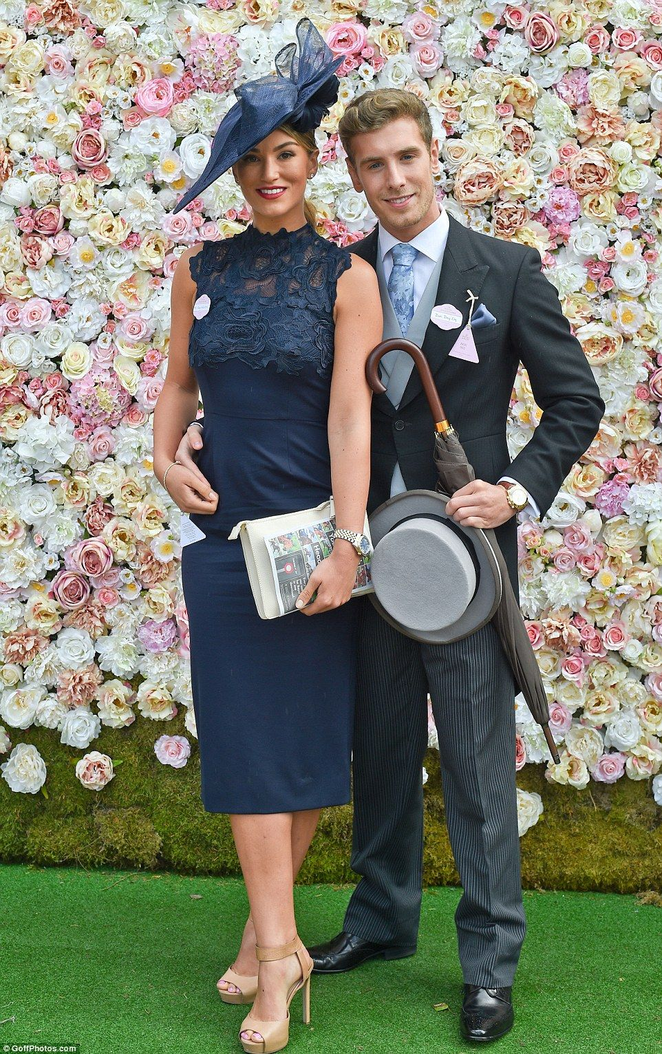 TV presenter and model Amy Willerton  looking elegant in a lace dress and matching hat as she arrived with her boyfriend Daniel Day