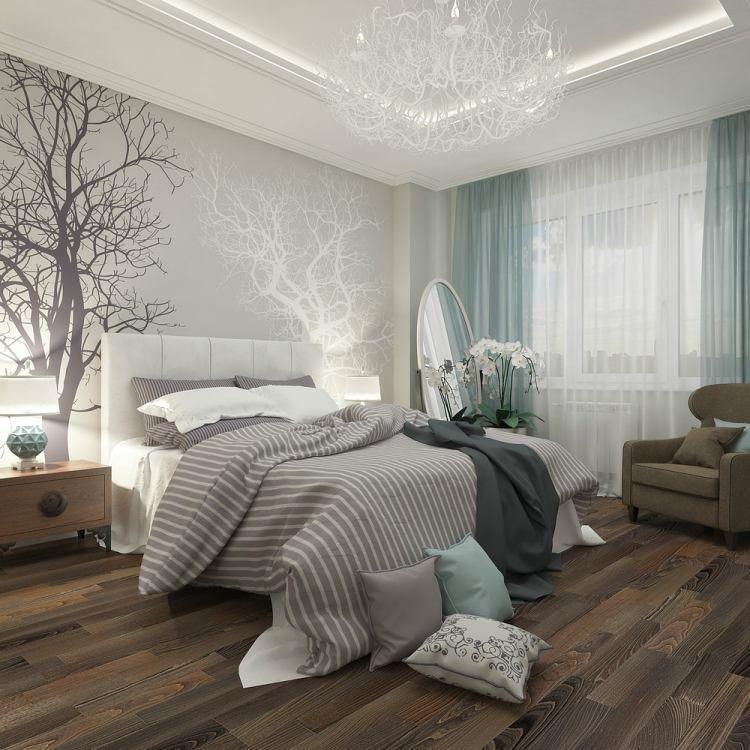 chambre-coucher-adulte-literie-grise-tête-lit-blanche-papier-peint