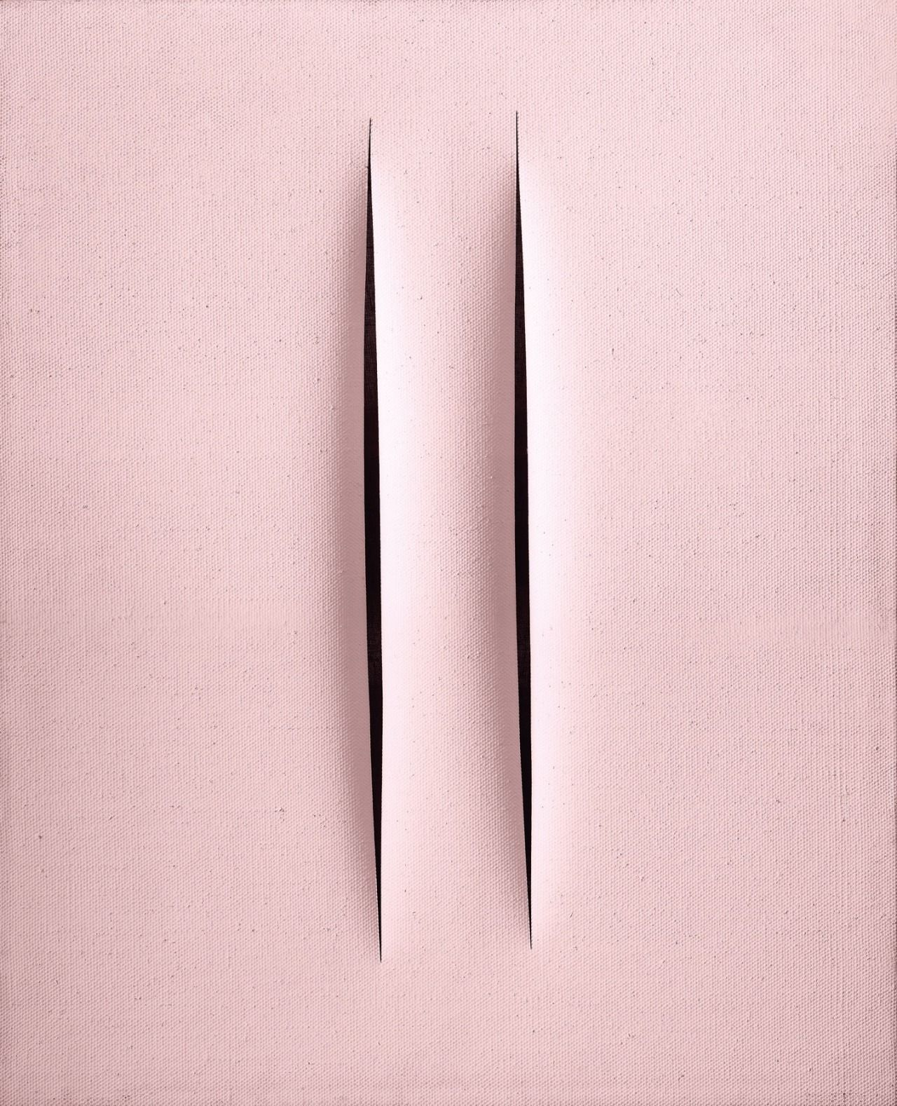 socialclaustrophobia:  Lucio Fontana (Argentinian/Italian, 1899–1968) / ConcettoSpaziale -Attese, 1968, emulsion paint on canvas, 61 × 50cm. viatigerlovemagic