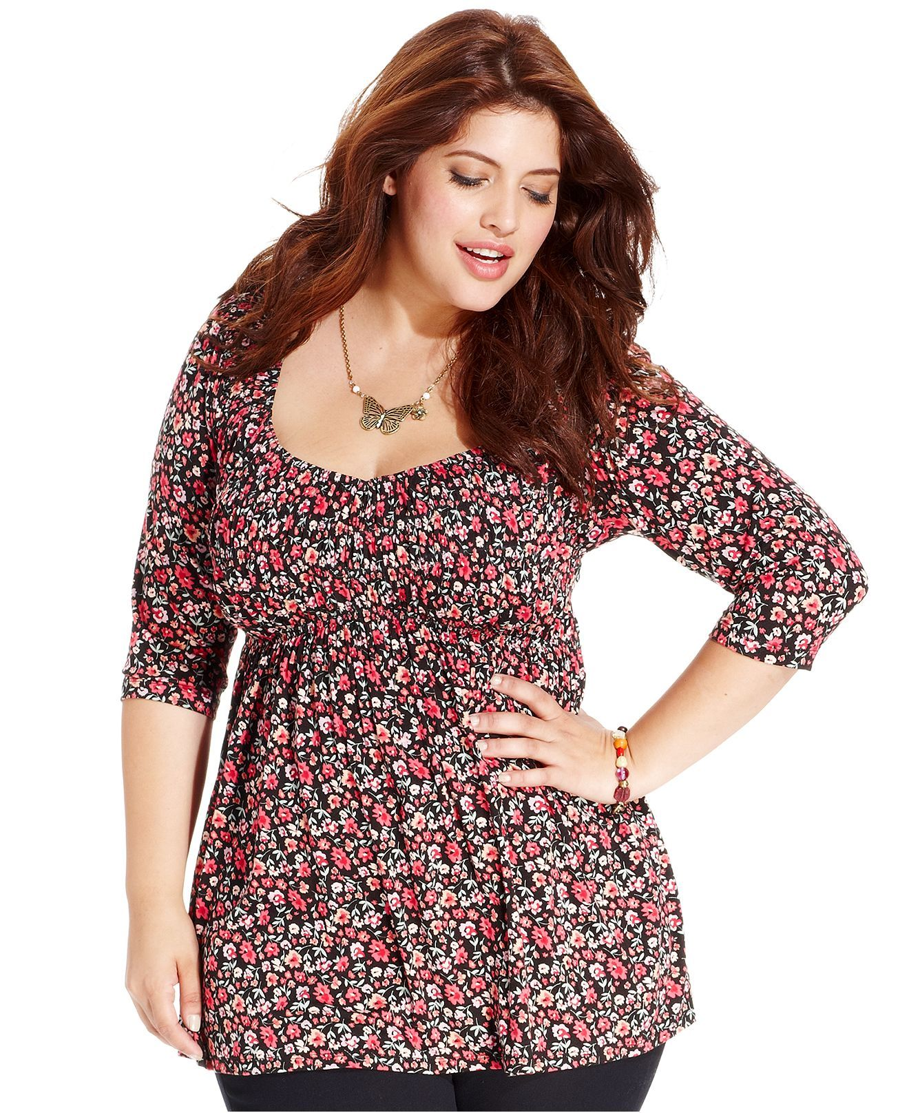 3774d732a17df American Rag Plus Size Top, Three-Quarter-Sleeve Floral-Print Babydoll - American  Rag - Plus Sizes - Macy's