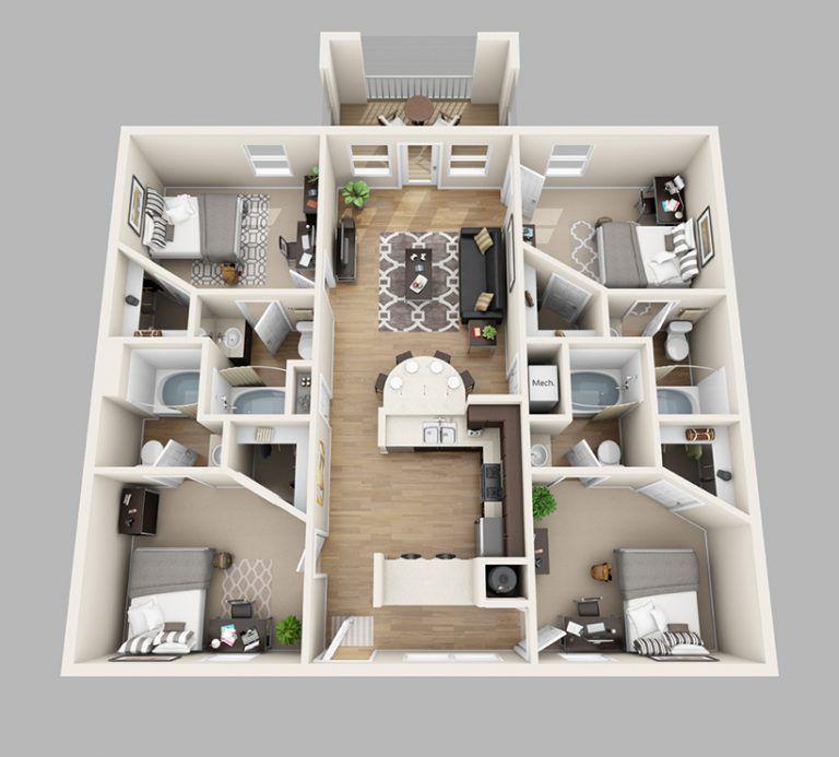 Simple Perfect 4 Bedroom Apartments Floor Plans Lux13 Apartments Ide Apartemen Desain Rumah Ide Dekorasi Rumah