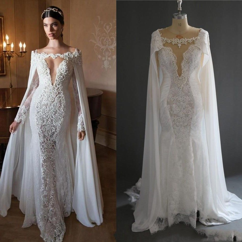 Vintage Style Lace Wedding Dresses: Retro Arabic Mermaid Lace Bridal Dresses With Cloak