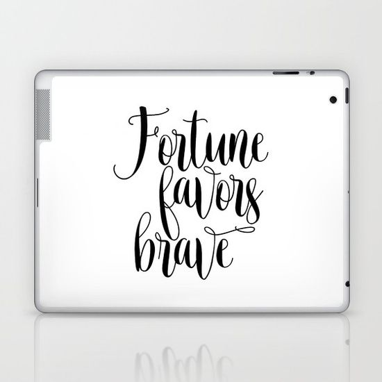 Printable Art, Fortune Favors Brave, Inspirational Quote, Home Decor