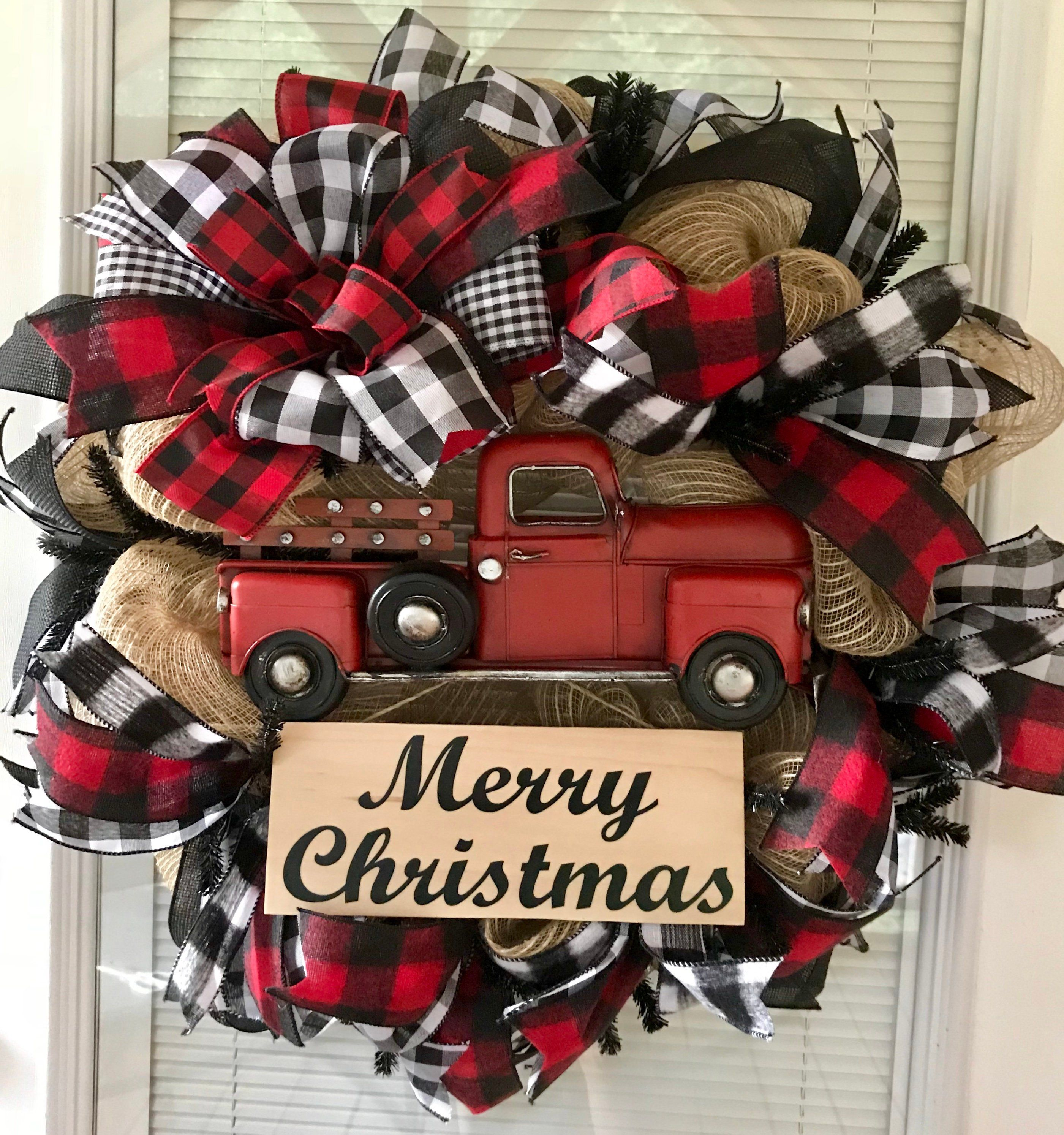 christmas wreath red truck wreath red truck farmhouse etsy - Christmas Black And White Clipart