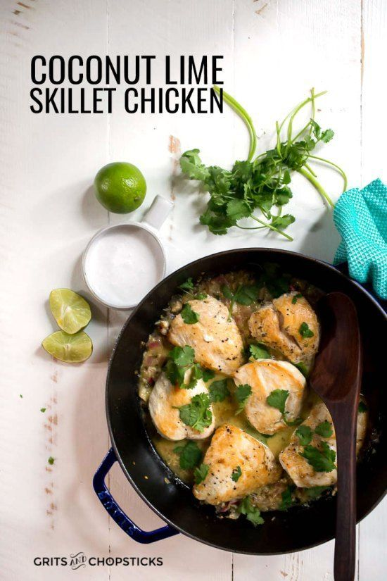 This recipe for whole30/paleo coconut lime skillet chicken is a healthy one-dish dinner with a creamy sauce! #onepot #recipes #food #delicious #glutenfree