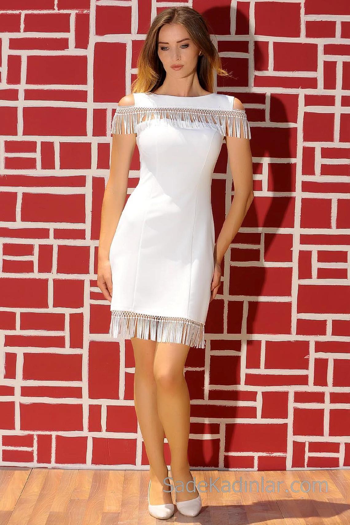 Abiye Elbiseler Beyaz Kısa Kolsuz Püsküllü