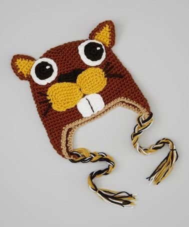 Take a look at this Brown & Yellow Beaver Earflap Beanie by Crossroad on #zulily today!