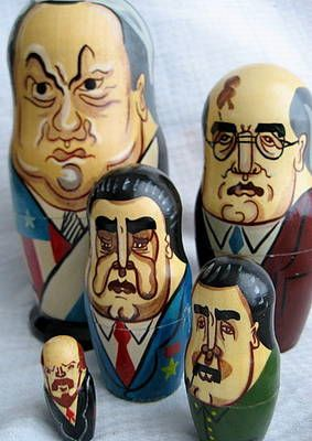 Russian Leaders Matryoshka Dolls  ღ This set of matryoshka dolls was purchased during Yeltsin's presidency and contains dolls that represent prior Russian leaders. Today, it's possible to purchase matryoshka dolls that represent Russia's President Medvedev. These dolls contain representations of Putin and leaders that served Russia before him.