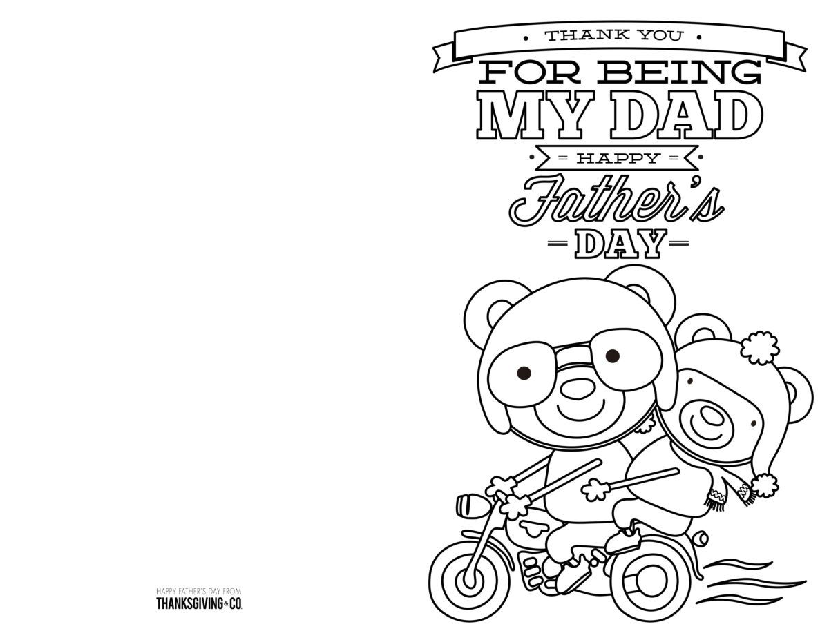 4 Free Printable Father S Day Cards To Color