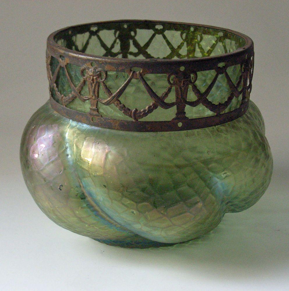 Dicke Vase Mit Metallrand Loetz Wwe Creta Chine 1889 Vase Glas Ebay