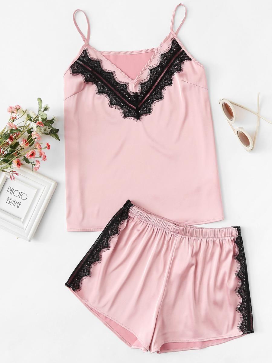 ee0672ad87 Lace Applique Satin Cami & Shorts PJ Set -SheIn(Sheinside) | Cute ...