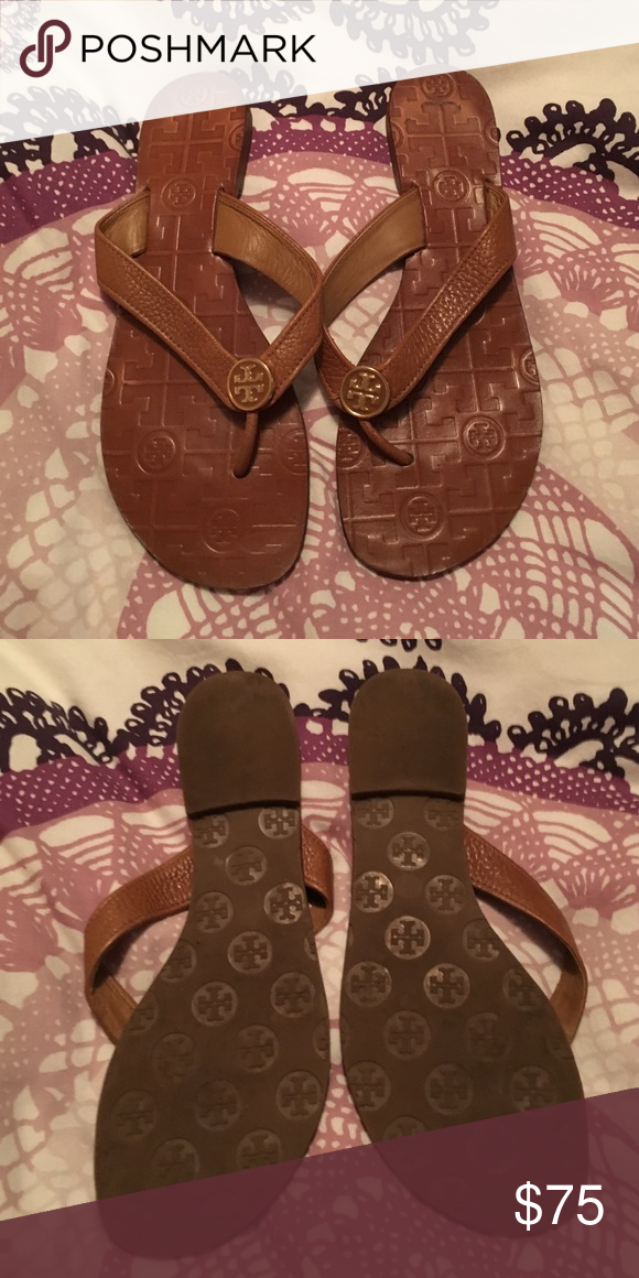 23408b13524e85 Brown leather Tory burch thora sandals Brown leather sandals size 7.5 with little  wear in the heels but overall nearly perfect condition.