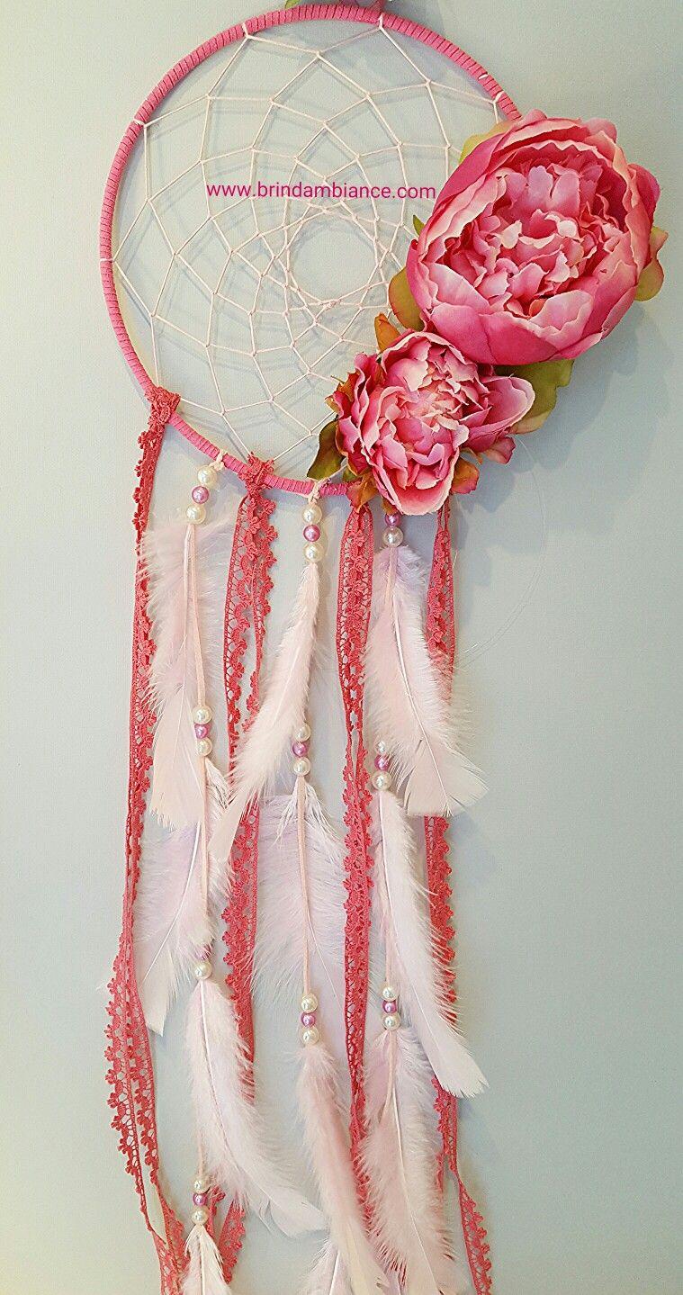 attrape r ve rose et pivoines pink dreamcatcher brin d 39 ambiance dinan creation attrape r ves. Black Bedroom Furniture Sets. Home Design Ideas