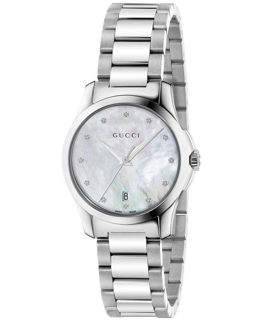 7cc4ef4a3b3 Gucci Women s Swiss G-Timeless Diamond Accent Stainless Steel Bracelet Watch  27mm YA126542