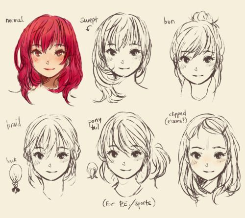 Hairstyles From The Front View I Have Never Been Sure What A Braided Hairstyle From The Front Looks Like Now I Do Manga Hair How To Draw Hair Anime Drawings