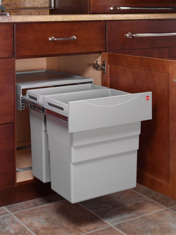 Garbage And Recycling For Shallow Depth Cabinet Hafele 502 70 522 Double Pull Out With 32 Quart 20 Waste Bins Full Extension Slides