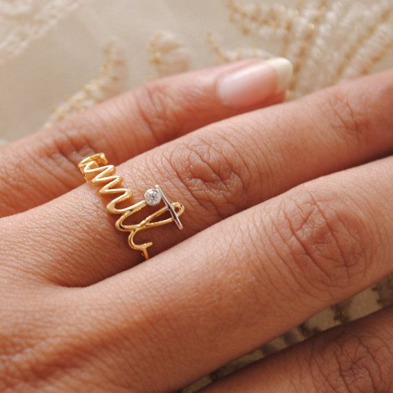 Custom Name 14K Yellow Gold Engagement Ring Gold by AbhikaJewels