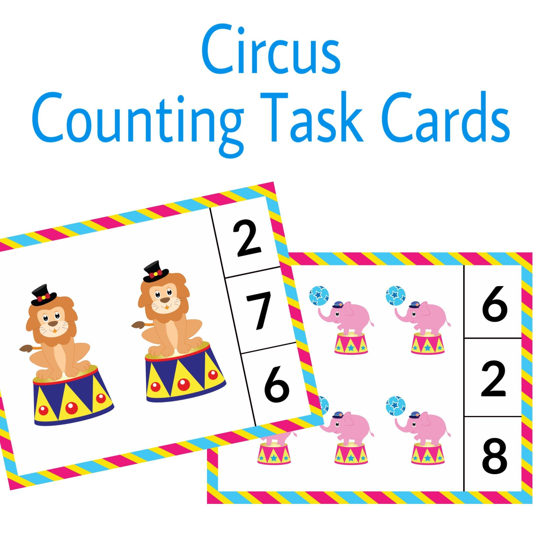 Circus Theme Task Cards Counting Activity Numbers 1 10