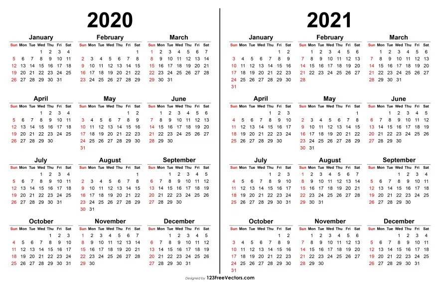 Printable 2021 And 2020 Calendar 2020 2021 Calendar | Calendar printables, Printable yearly