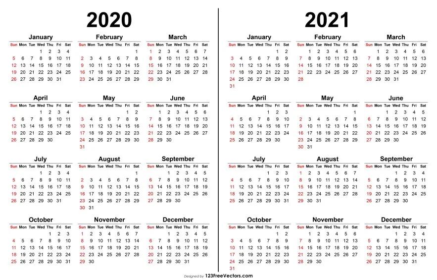 2020 2021 Calendar Calendar Printables Print Calendar Printable Yearly Calendar