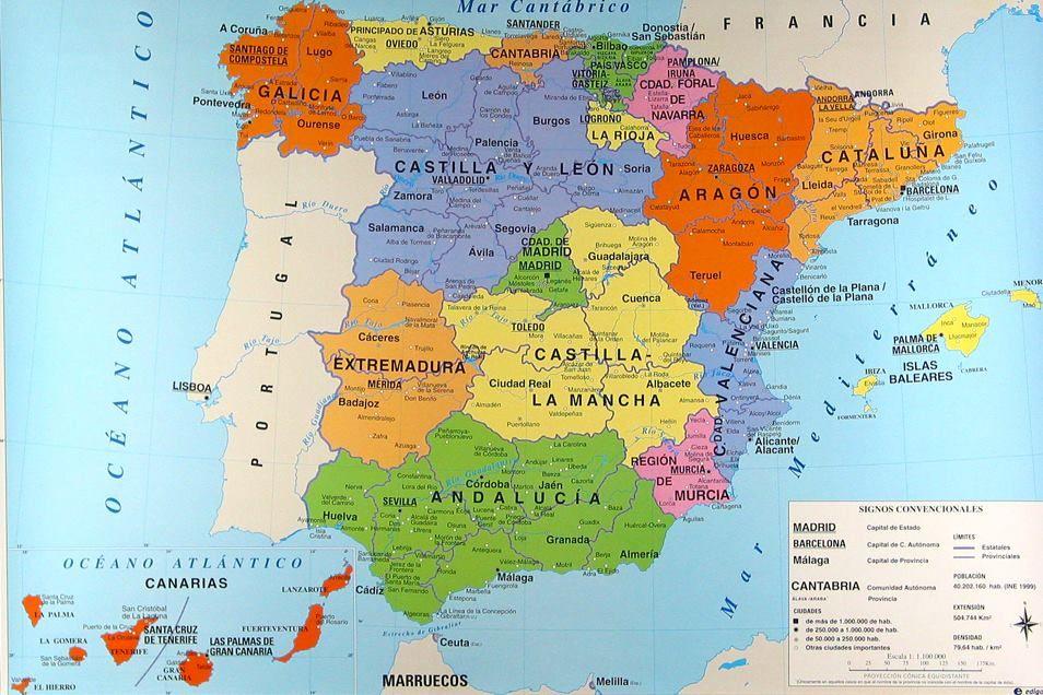 Spagna E Canarie Cartina.Mappa Delle Regioni Spagnole Cartina Delle Regioni Della Spagna Spagna Viaggi Spagna Mappa