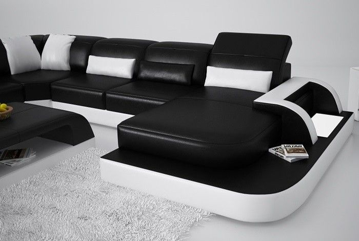 Waves Sectional Sofa Media Room Leather Furniture Upscale Good Quality Online Modern From Ont Items Ihso02182