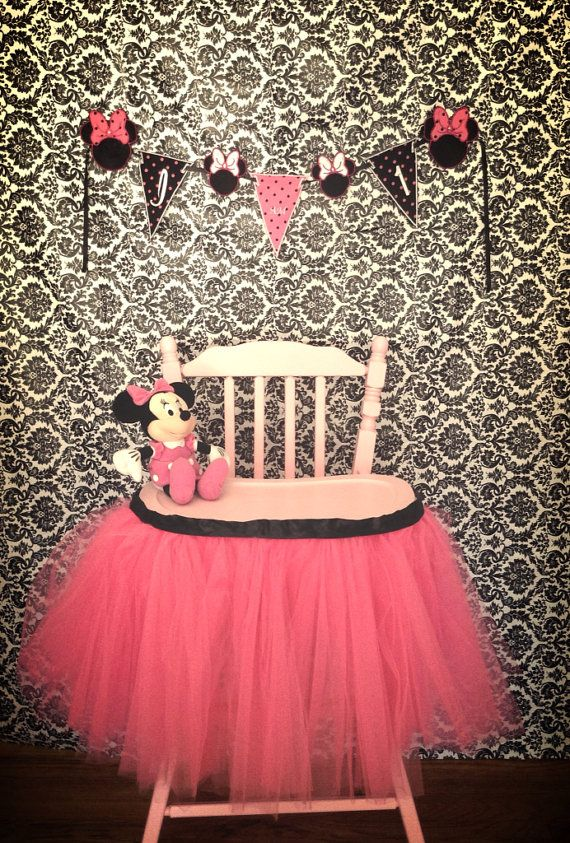 Minnie Mouse Inspired High Chair Tutu. Great for 1st Birthdays, Cake Smash, Photos, Parties