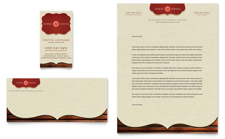 Horse Riding Stables \ Camp - Business Card \ Letterhead - Word - company letterhead word template