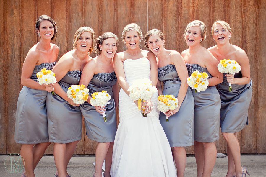 Bing Gray and Yellow Bridesmaid Dresses