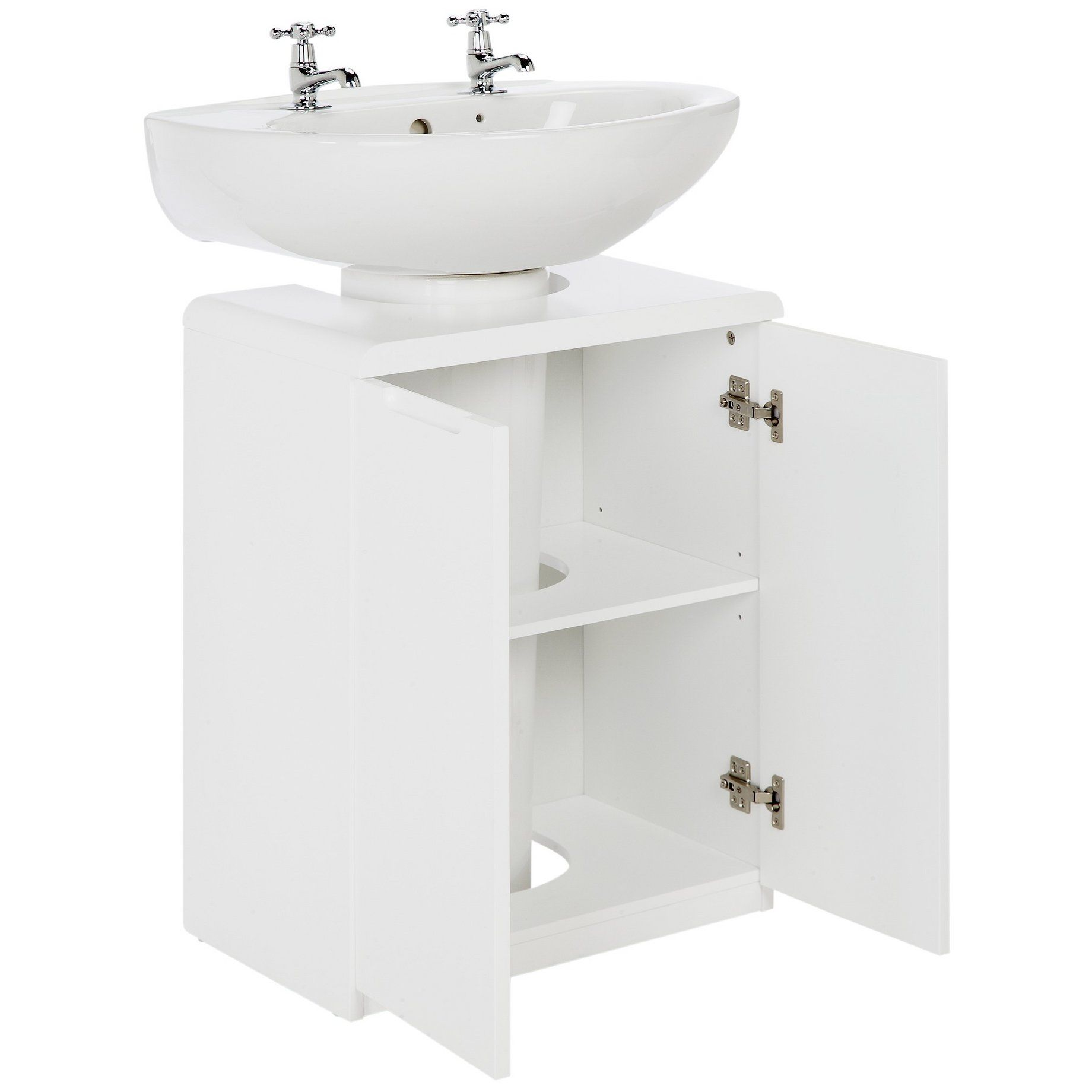 Buy Hygena Curve Under Sink Storage Unit White At Argos Co Uk Your Online Shop For Bathroo Small Bathroom Storage Diy Shelves Bathroom Bathroom Shelf Decor