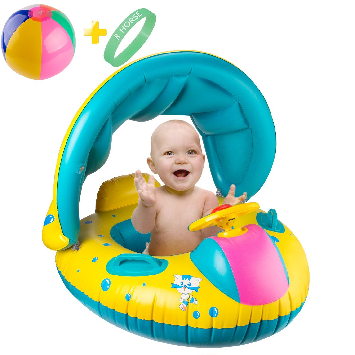 Baby Kids Pool Float with Canopy Inflatable Swimming Ring Swim Floats for 0-6Y