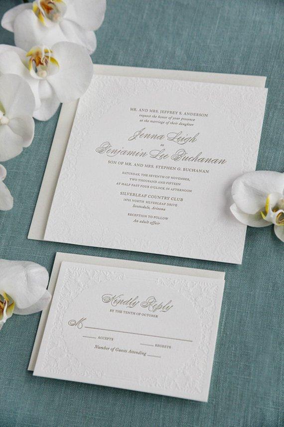 Script Elegance Letterpress Wedding Invitations | Shine ... |Inexpensive Wedding Invitations Letterpress