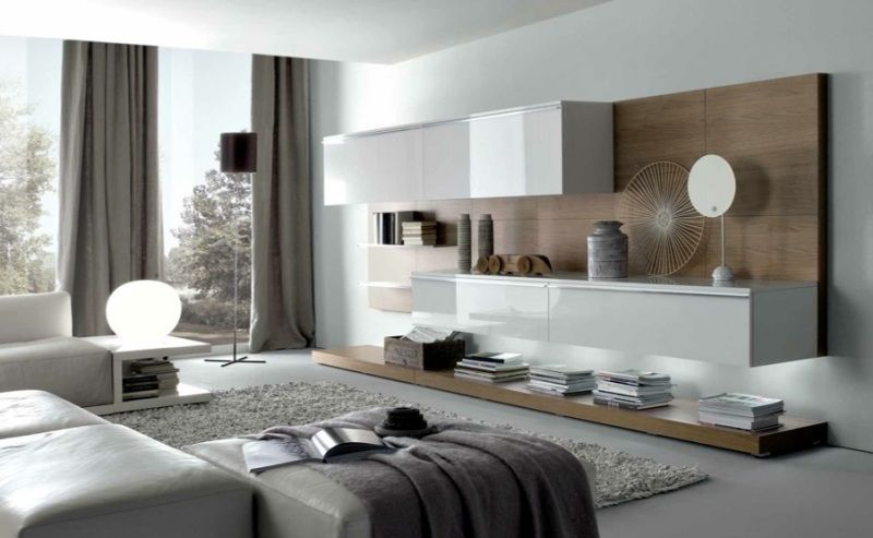 salon moderne blanc quels meubles et d co pour le r ussir meuble suspendu tapis gris et. Black Bedroom Furniture Sets. Home Design Ideas