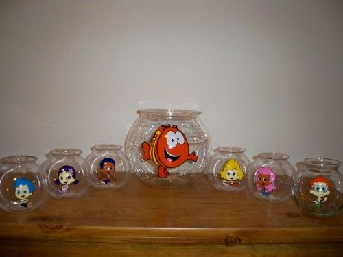 BUBBLE GUPPIES BIRTHDAY PARTY FAVOR FISH BOWL SET 1 LARGE AND 6 SMALL