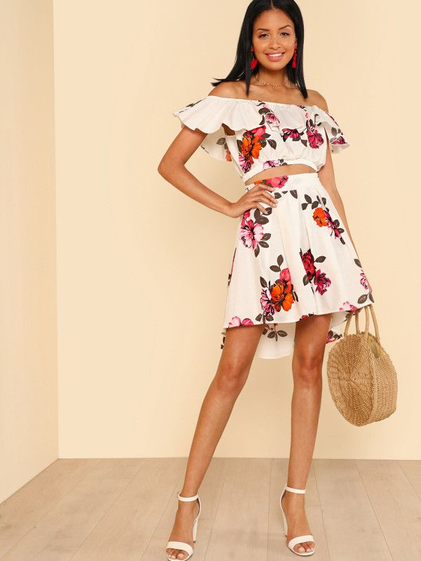 f91022af19 Ruffle Off Shoulder Flower Print Crop Top with Matching High Low Mini Skirt  IVORY -SheIn(Sheinside)