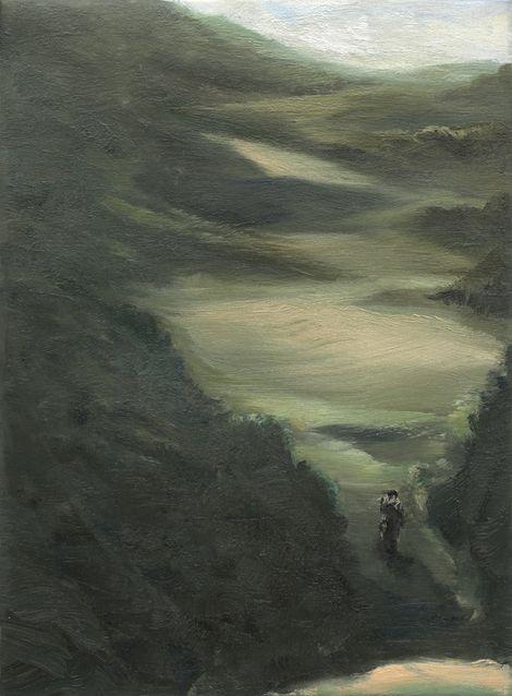 Hetch Hetchy Hiker Landscape Painting by Michael Serafino