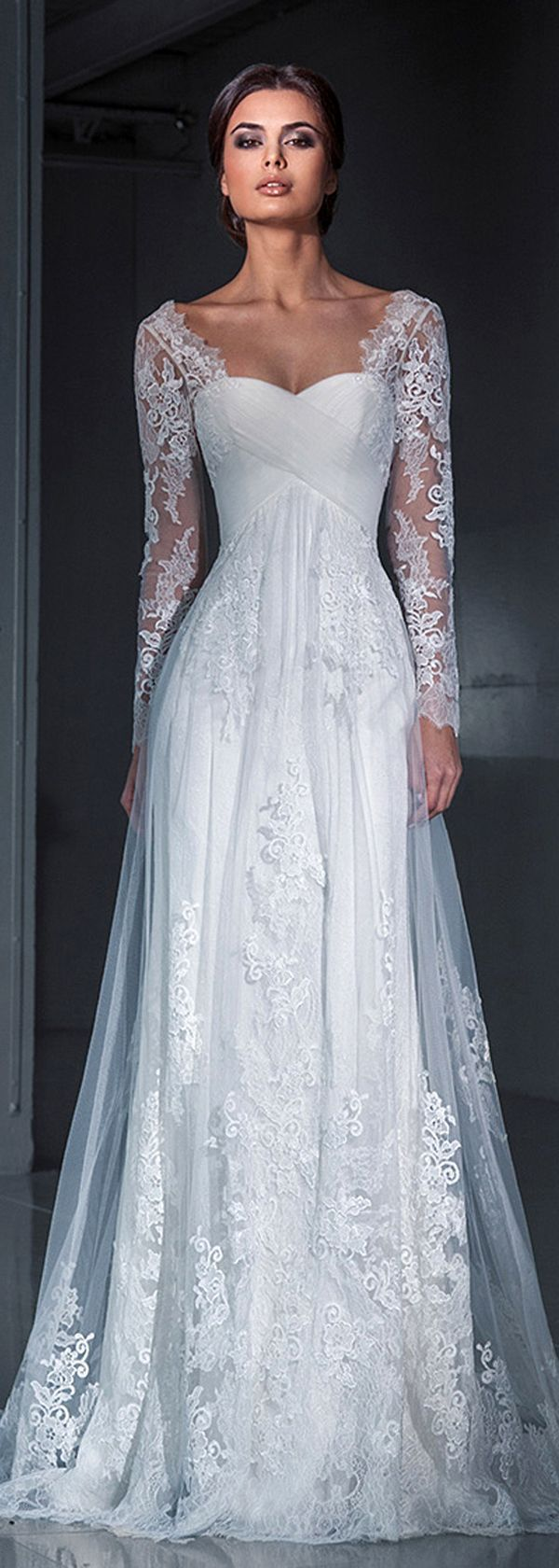 Top gorgeous wedding dresses with long sleeves lace applique