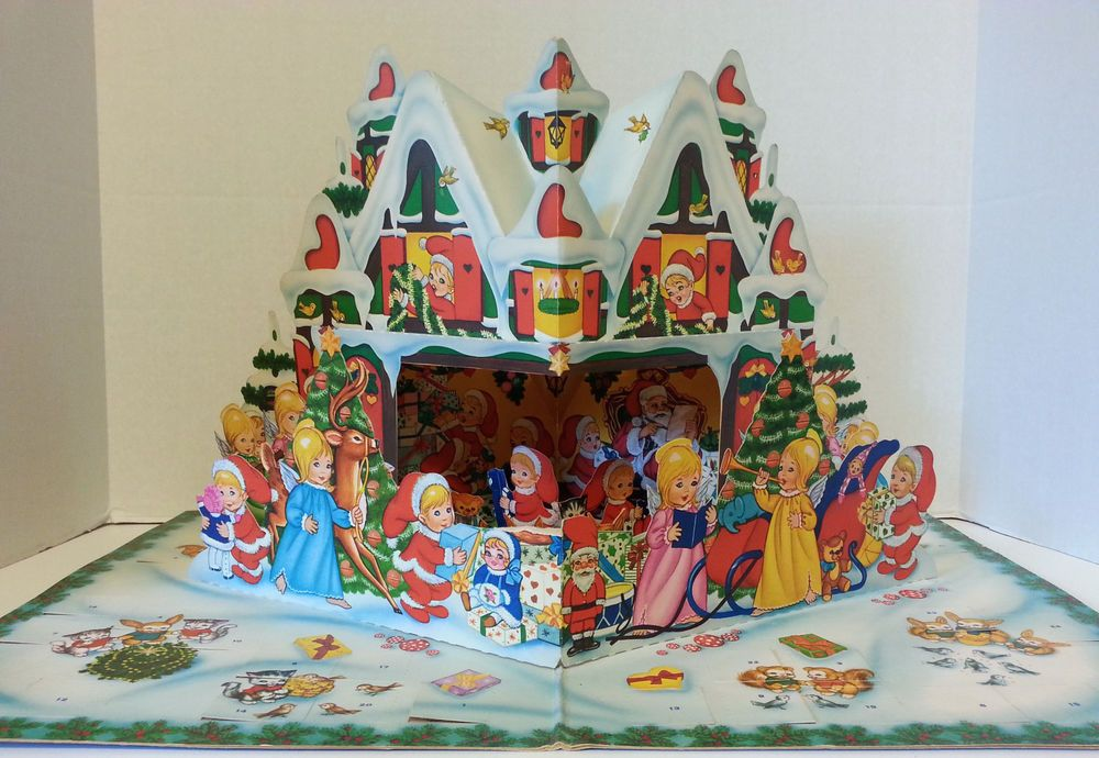 Vintage Christmas Santa Advent Calendar Pop-Up Book Denmark Carlsen Verlag 1965