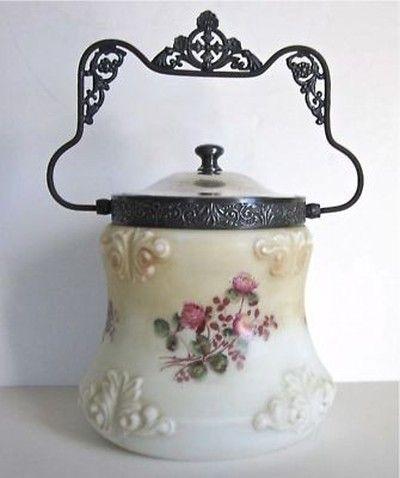 Antique Victorian Hand Painted Biscuit Cookie Jar