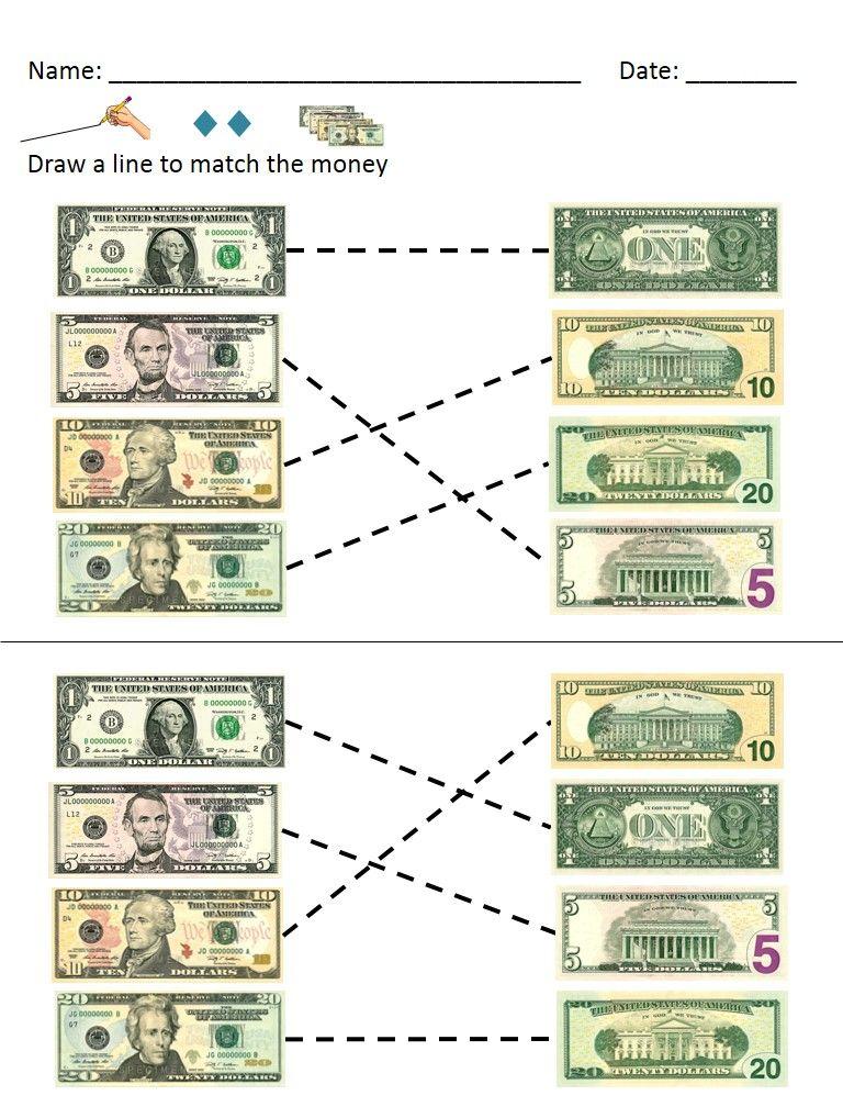 Money Math Dollar Bills Identification And Value Worksheets