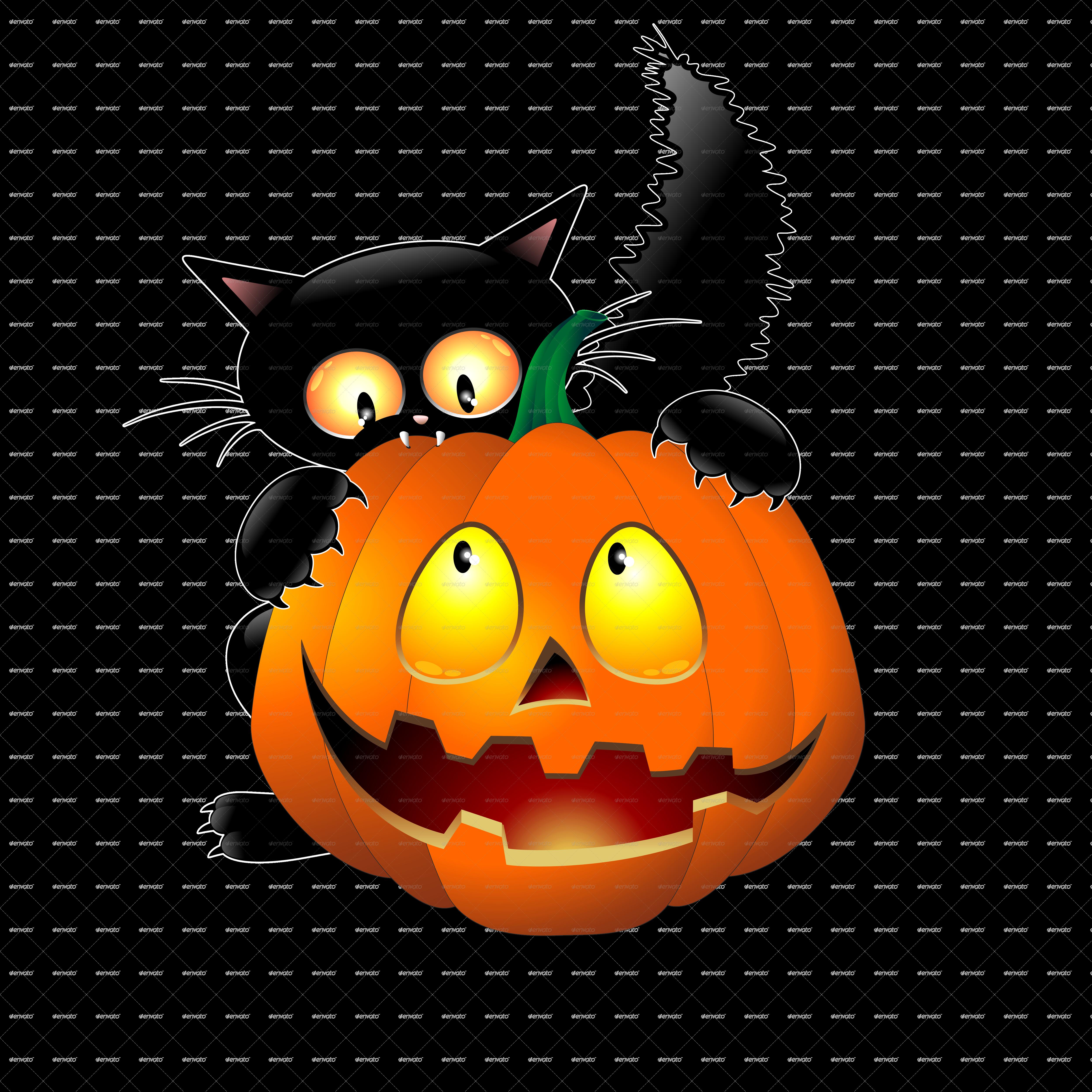 Funny Halloween Cartoon Cat Mouse And Pumpkin Halloween Clips